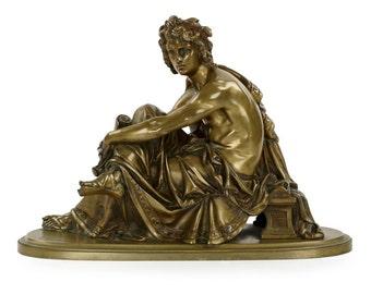 """Albert-Ernest Carrier-Belleuse, """"Virgil"""", Bronze Sculpture, 607UOL24P"""