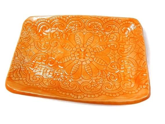 Orange Dish Tangerine Plate Orange Home D Cor Ceramic Candy