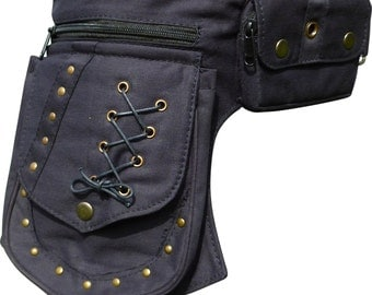 Steampunk Black Cotton Rivet Detail Waist Bag
