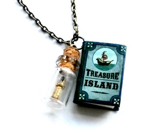Treasure Island Book Necklace Mini Book with Bottle Handmade Gift