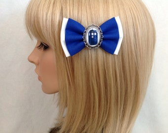 Doctor Who Tardis hair bow clip rockabilly psychobilly kawaii pin up girl punk geek blue white Dalek sci fi 11th 12th vintage retro