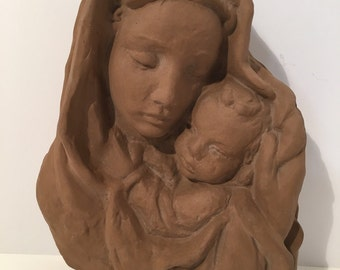 Madonna and Child Clay Wall hanging Sculpture