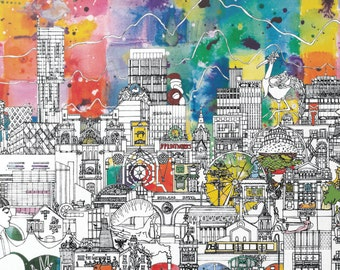 Manchester Skyline - A Unique and Vibrant Print