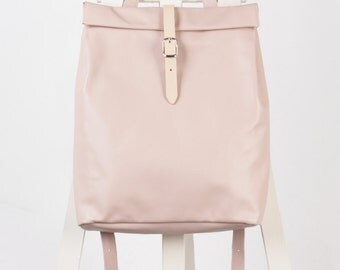 Powder pink leather backpack rolltop rucksack / To order