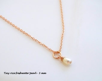 Freshwater Pearl Necklace, Minimalist Necklace, Single Pearl Necklace, Dainty Necklace, Delicate Jewelry, Layered Necklace, Simple Necklace