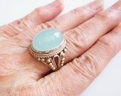 Chalcedony Silver Ring - Chalcedony Sterling Ring - Vintage Bohemian Quartz Ring - Statement Jewelry - Healing Gemstone