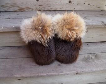custom beaver fur mittens (S-M , up to 7.5''length/width)