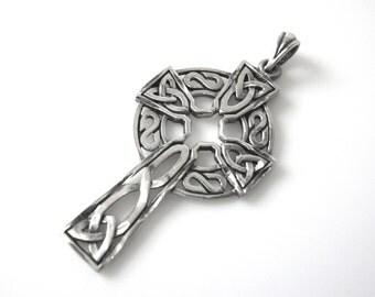 Vintage Sterling Silver Celtic Cross Pendant