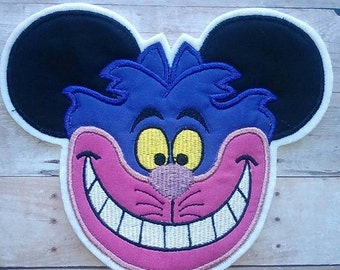 Cheshire Cat Apllique ~ Alice in Wonderland Iron On Patch ~ No Sewing Needed