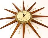 Mid Century Starburst Wall Clock WESTCLOX nocord Teak and Brass Wall Clock