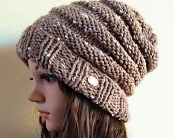 Slouchy beanie hat Tweed Range - River Sand Tweed (or CHOOSE COLOR) - chunky - handmade - vegan friendly - gift