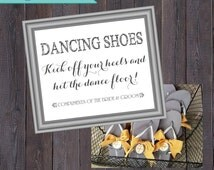 Dancing Shoes Sign // Flip Flop Basket Sign // Personalized Printable PDF