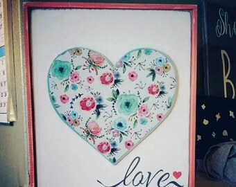 Flower Heart Love Wood Sign With Frame*Girls Room Décor* Nursery Art*Hand Painted*