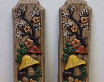 Vintage Ceramic Mushroom Wall Plaque Hanging