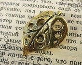 Art nouveau leaf, antique brass L2026(1). Anna Bronze, jewelry findings, handmade pendant, leaves, holes
