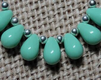 25 ~ Turquoise Green 9x6mm Czech Glass Teardrop Beads