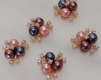 5 Flat Back Rhinestone and Pearl Button (20 mm) My443-01