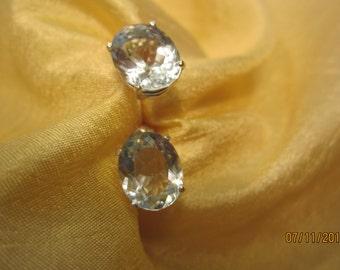 Natural Light Blue Topaz Stud Earrings