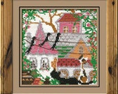 """Cross Stitch KIT 612 """"City and Cats Summer"""" - by RIOLIS (Counted cross stitching, Sewing & Needlecraft, Embroidery pattern)"""