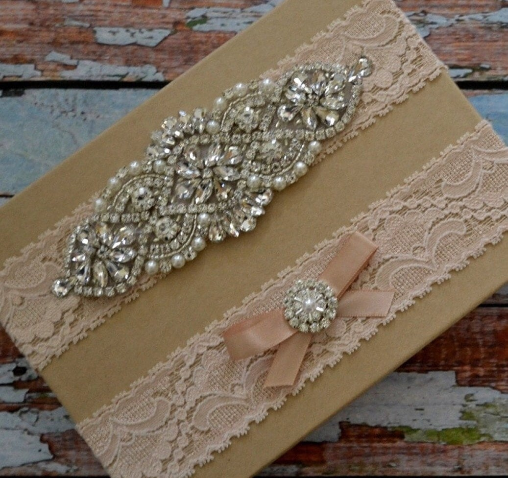Blush Wedding Garter Blush Rhinestone Bridal Garter Set