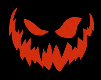 Pumpkin Face Jack-O-Lantern Monster Halloween Embroidery Machine Design