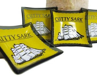 Vintage 1950's Retro Cutty Sark Scotch Whiskey Dishes | Cutty Sark Advertising Gifts | Set of Four