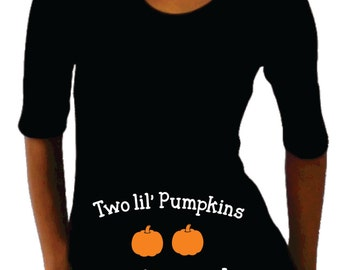 "Twins Maternity Halloween shirt "" Two Lil' pumpkins on the way"", Thanksgiving, halloween maternity shirt, Maternity clothes"