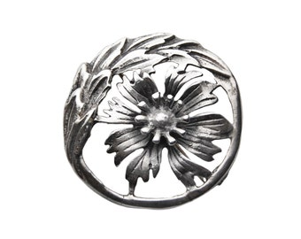 Vintage Sterling Silver Pierced Floral Round Brooch