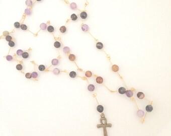 Rosary Style Ankh Necklace (Purple/Grey)