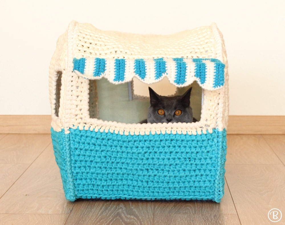 Pattern On The Road House Pet Crochet Bed Cat Cave By
