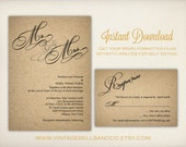 DIY Printable Wedding Invitation Template, Easy DIY Printable, Microsoft Word Invitation, Instant Download, Mr. and Mrs. Calligraphy (ID3)