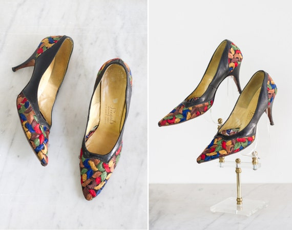 vintage 1950s embroidered heels | 50s black leather stiletto heels | vintage pumps