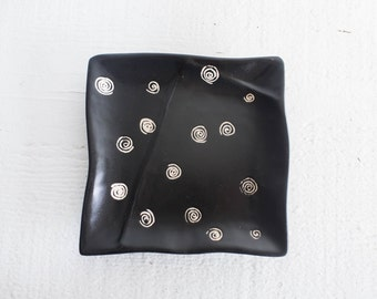 Black + White Ring Plate | Jewelry Plate | Soap Dish