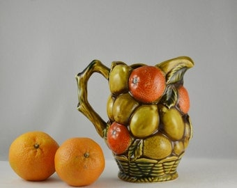 Vintage 1960s Inarco E3378 Oranges Blossoms Lemons Basketweave Ceramic Juice Pitcher Florida