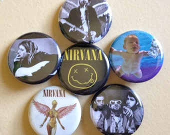 """Nirvana pin back buttons 1.25"""" set of 6"""