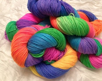 "Rainbow ""Roy G.Biv"" 75/25 SW Merino/Nylon Sock yarn"
