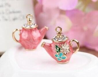 2 pcs of metal 3D tea pot gorgous rhinestone and hot  pink charm 22x20mm