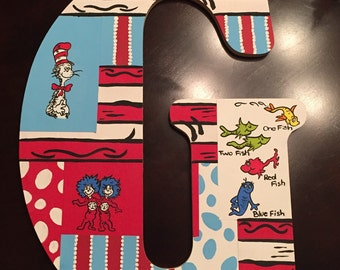"18"" Dr Suess themed patchwork letter"