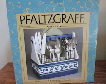 Vintage Pfaltzgraff flatware caddy holder serving table Orleans blue flower design