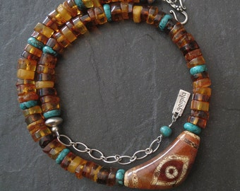 Baltic Amber and Turquoise Necklace with Agate Eye Bead Pendant