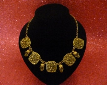 Skull Necklace - Antique Gold - Take 25% Off SINply Jewellery