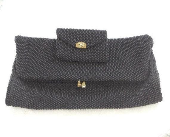 Vintage Beaded Handbag Petite Bead with Change Purse Lumured Micro Bead Bag Black Rhinestone Clasp