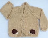 Baby hand knitted beige baby cardigan to fit 3 to 6 months