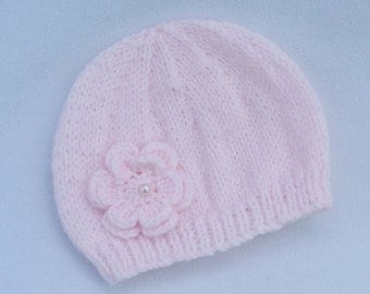 Baby hat,  hand knitted pale pink baby beanie hat to fit 3-6 months.