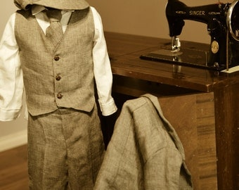 Boys Suit - 6 piece, Italian linen. Jacket with genuine leather elbow patches, Vest, Linen shirt, Pants, Tie and Bakerboy style Hat