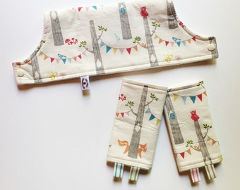 Woodland Party ORGANIC Drool Pads and Topper Bib SET - Organic Cotton & Bamboo Fleece - fits many different carrier types