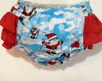 CLEARANCE girls Christmas Santa ruffle bottom diaper cover, girls clothing