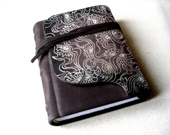Personalized Brown Leather Journal, Gift for Her, Womens' Gift, Silver Hot Stamped Ornamentation, Handbound Blank Book, Birthday Gift