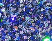 Solvent Resistant Glitter Mix, Moon and Star Gothic Glitter Blend - 2 Tsp of Glitter, For Slime, Scrapbooking, Nail Polish, Frankening