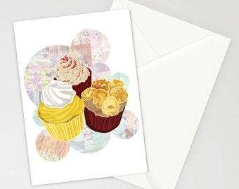 Cupcakes A6 greetings card/ party invite